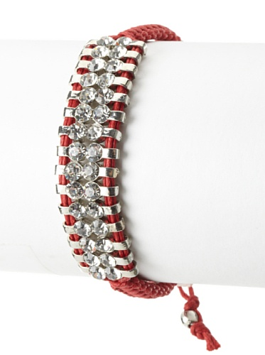 Shashi Two Row Original Adjustable Bracelet, White Gold/Red