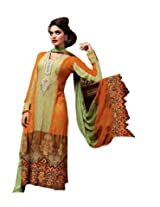 Anvi Creations Green & Orange Pure Georgette with net Jequard Dress Material (Green & Orange_Free Size)