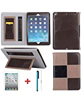 LYSTOCK iPad Air 2 Case, Grid Multi-color Luxury PU Leather Handle Case, with Kickstand Protective Sleeve Case Cover for Apple iPad Air 2/ipad 6 (#1)