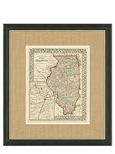 "Mitchell-Antique Map of Illinois, 1860's-1870's, 21"" x 23"""