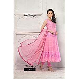 Clickedia Women's Brasso & Net Semi Stitched Anarkali Suit (Red Variant_Pink_Free Size)