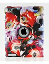 LiViTech(TM) Modern Art Flower Design Series 360 Degree Rotating PU Leather Case Cover for Apple iPad Air, iPad Mini with Retina and iPad 2 3 4 (iPad 2 3 4, P Purple Red)