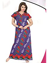Indiatrendzs Women's Hosiery Cotton Nightwear Purple Floral Print Gowns Hot Nighty