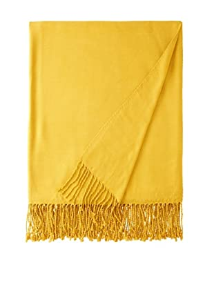 Nine Space Viscose from Bamboo Solid Throw Blanket (Mustard)