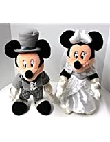 Disney Posable Plush Mickey & Minnie Mouse In Wedding Outfits