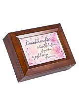 Beautiful Granddaughter Dark Wood Finish Jewelry Music Box - Plays Tune You Are My Sunshine