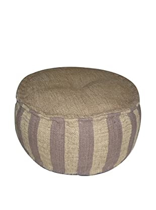 Boheme Collection Wool Jute Pouf, Round, Multi