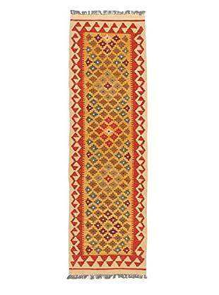 Hand-Woven Izmir Kilim, Dark Copper/Light Brown, 2' x 6' 9