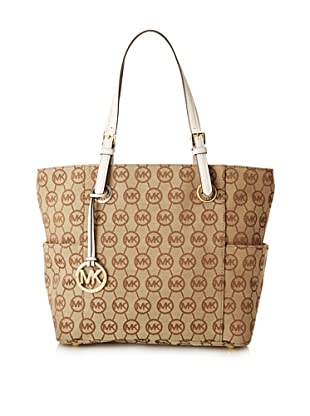 MICHAEL Michael Kors Women's Monogram East/West Signature Tote, Vanilla