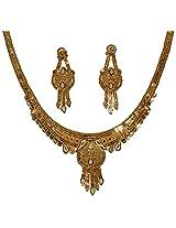 Fabzeel Yellow One Gram Gold Plated Fancy Charm Jewlery Necklace Set For Women Trendy