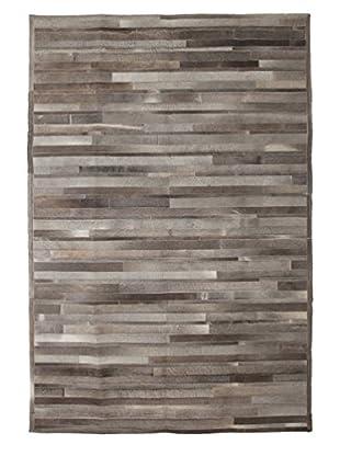 Solo Rugs Cowhide Oriental Rug, Charcoal, 6' 1