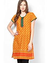 Cotton Orange Printed Kurta