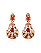 I Jewels Traditional Gold Plated Chand Jhumki Shaped Meenakari Earrings for Women E2239R (Red)