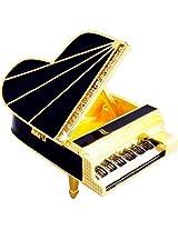 "Objet D'Art Release #286 ""88 Keys"" Black Concert Grand Piano Handmade Jeweled Enameled Metal Trinket Box"