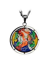 Inox Jewelry Roberto Arichi Collection Hand Painted on Wood Medallion Pendant for Men and Women