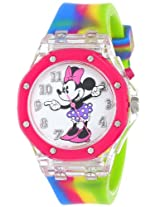 Disney Kids' MN1172 Minnie Mouse Watch with Multi-Colored Rubber Band