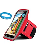 Sumaccn Red Adjustable Running Sports Gym Armband Case Cover