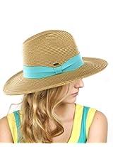 NYfashion101 Lightweight Solid Color Band Braided Panama Fedora Sun Hat Dk Nat/Mint