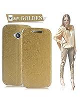 Best Deals - Original Pudini Branded Flash Pattern Motorola Moto E2 Flip Cover Case - Gold