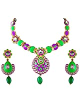 Vivanta Multi-Coloured Gold Plated Necklace And Earrings Set For Women (VD-N116)