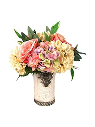 Creative Displays Pink & Cream Rose Floral in Cream Pot