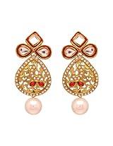 Vendee Fashion Red Copper Dangle & Drop Earrings For Women (VDF - 7901)