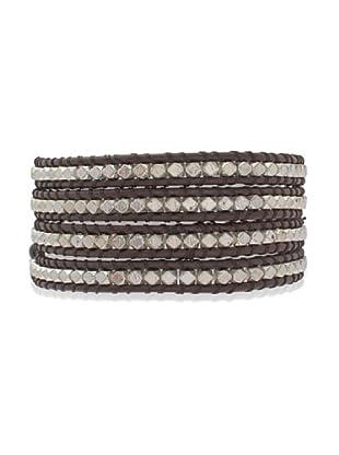 Lucie & Jade Echtleder-Armband Metallbeads dunkelbraun/silber