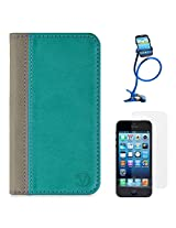 VanGoddy Mary Portfolio Self Stand Case Cover For Apple iPhone 5S / 5G (Blue) + Long Flexible Stand + Matte Screen