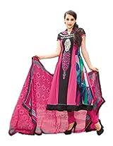 Jinaam Dress Women Georgette Dress Material (Jd-6341B _Pink & Black _34)
