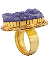 Gehna Mart Gold Plated Purple Druzy Gold Plated Ring For Women