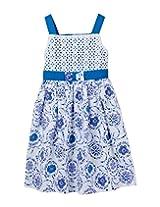Beebay Cotton Baby Girl Schiffle Neon Print Dress (G3814121400210 -Blue -3 to 4 Years)