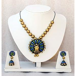 Anikalan Designs Blue Peacock Pendant Terracotta Necklace Set