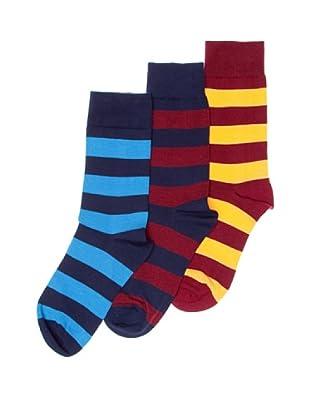 Sockaholic Pack de 3 Pares Calcetines Caña Baja Rayas Harry+Jordi+Pepe (Multicolor)
