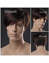 (WG-ZL293-4)Short Straight Men Wig,Dark Brown color.