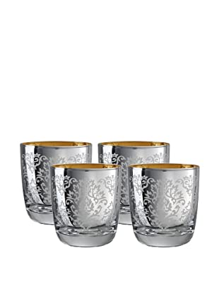 Artland Set of 4 Brocade Double Old-Fashioned Glasses (Silver)