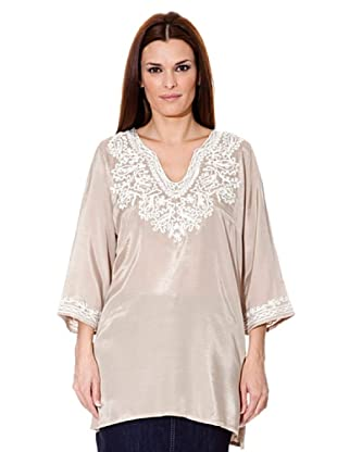 Cortefiel Top Stickerei (Beige)