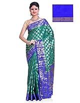 Meghdoot Artificial Silk Saree ( PREETHI_ST006_RAMAxROYALBLUE Woven Turqouise Green and Royal Blue Colour Sari)