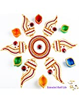 Ghasitaram Gifts Acrylic Shankh Rangoli with Diyas and Kaju Katli
