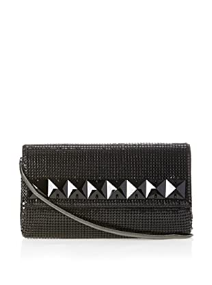 Whiting & Davis Women's Crystal Squares Flap Clutch (Black)