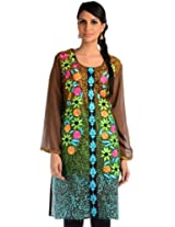 Golden brown printed embroidery readymade kurti