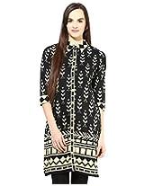 Jaipur Kurti's Pure Cotton 3/4 Sleeve Black Kurti