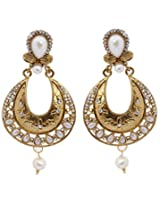 Hyderabadi Abhushan earrings with gold and white color