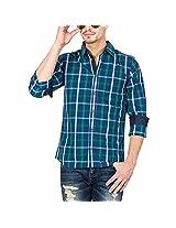 Slub Mens Casual Shirt(SLSH000890B-XXL_Blue_XXL)