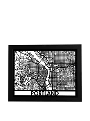 Cut Maps Portland Framed 3-D Street Map