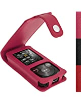 iGadgitz Pink Leather Case for Sony Walkman NWZ-E384 with Detachable Carabiner + Screen Protector