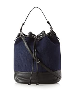 Charlotte Ronson Women's Herringbone Bucket Bag, Blue/Pebble