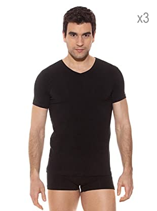 Pierre Cardin Pack x 3 Camisetas M / Corta (Negro)