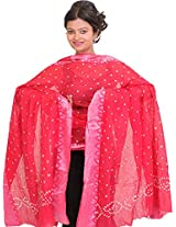 Exotic India Bandhani Tie-Dye Dupatta from Gujarat with Woven Border - Color Geranium PinkColor Free Size