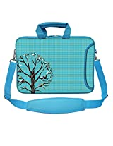 Meffort Inc 15 15.6 inch Blue Color Matching Neoprene Laptop Bag Sleeve with Extra Side Pocket, Soft Carrying Handle & Removable Shoulder Strap - Family Tree
