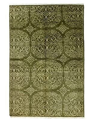 Bashian Rugs One-of-a-Kind Hand Knotted Indo-Oushak Rug, Light Green, 6' x 9'
